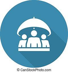 grupo, seguro vida, icon., apartamento, design.