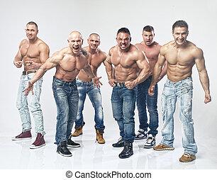 grupo, seis, jovem, muscular, pelado, posar, molhados, ...