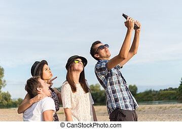 Grupo,  selfie, jovem, adulto, amigos, Levando