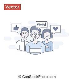 grupo, semelhante, pessoas, idéia, dizer, wow!, feliz