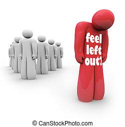 grupo, sentir, isolado, triste, pessoa, permitido, deprimido, saída, esquerda