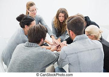 grupo, sessão, terapia, sentando