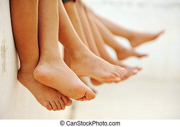 grupo, shoes, sin, juntos, amigos, niños, verano