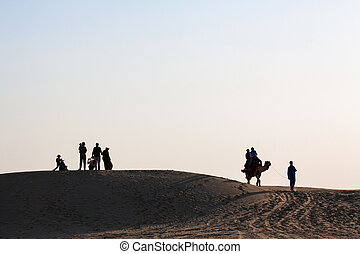grupo, silhouetted, familia , camello, pareja, paisaje del desierto