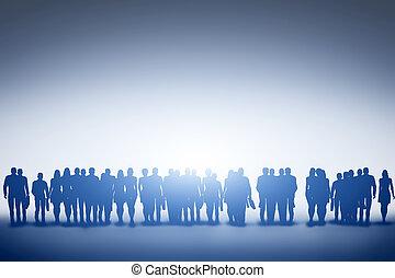 grupo, silueta, empresarios