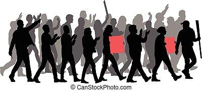 grupo, silueta, protestador