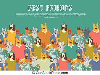 grupo, sky., grande, amigos, gatos, animais estimação, abraços, amizade, cachorros