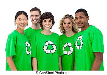 grupo, sonriente, activists, ambiental