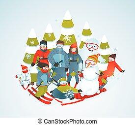 grupo, sporty, árvores, alegre, snowboarders, esquiadores,...