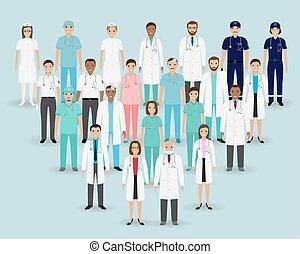 grupo, staff., banner., enfermeiras, médico, paramedics.,...