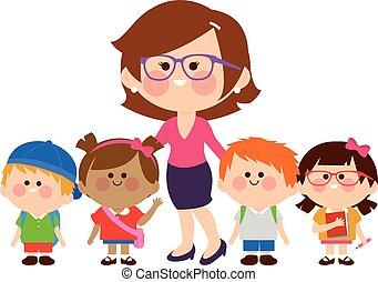 grupo, students., ilustração, crianças, vetorial, professor