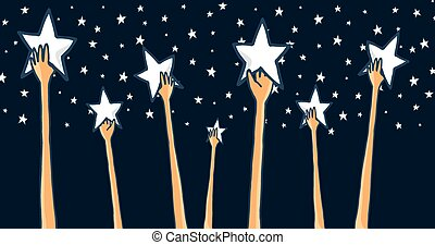 grupo, sucesso, alcançar, estrelas, mãos, ou