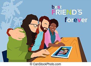 grupo, tabuleta, foto, olhar, computador, amigos