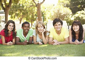 grupo teenagers, mentindo, ligado, estômagos, parque