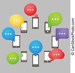 grupo, telefones móveis, modernos, fala, nuvens