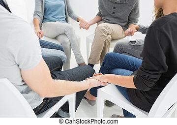 grupo, terapia, em, sessão, sentando, em