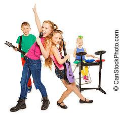 grupo, tocando, rocha, menina, cantando, crianças