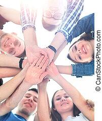 grupo, topo, cada, adolescentes, outro, mãos, sorrindo