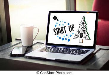 grupo, trabajando, empresa / negocio, ideas, arriba, comienzo, empresa, diario