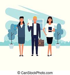 grupo, trabalho equipe, negócio