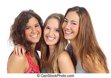 grupo, tres, mirar, cámara, reír, mujeres