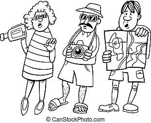 grupo, turista, ilustração, caricatura