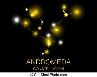 grupo, universe., andromeda., sky., espacio, ilustración, estrellas, brillante, noche, profundo, amarillo, constelación, vector