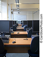 grupo, universidad, ordenador laboratorio
