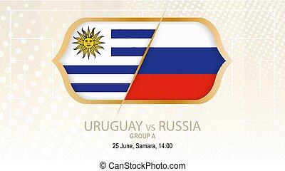 grupo, uruguay, fútbol, a., samara., contra, rusia,...