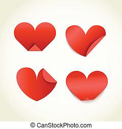grupo, valentines, papel, hearts., día, rojo, feliz