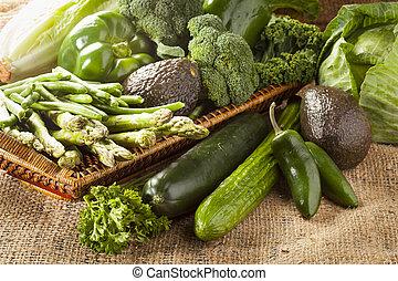 grupo, variado, vegetales, verde, orgánico, fresco