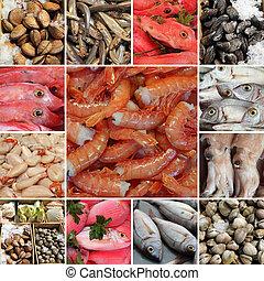 grupo, variedad, pez, -, imágenes, fresco, mercado, europeo