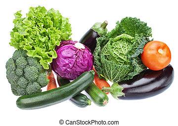 grupo, variedad, vegetales, suministro, col, berenjena, útil...