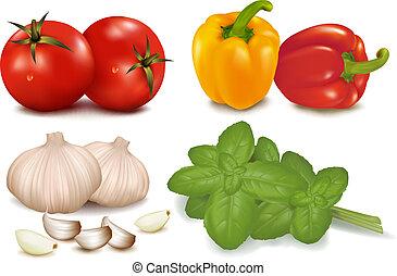 grupo, vegetables., colorido