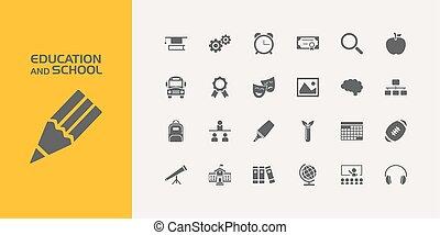 grupo, vinte, ícones, escola, educação