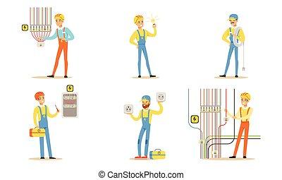 grupo, work., electricistas, vector, ilustración