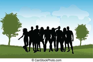 grupos, de, amigos