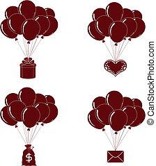 grupos, jogo, balões, silueta