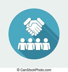 grupp, överenskommelse, ikon