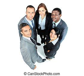 grupp, affär, folk., stort, bakgrund, vit, över