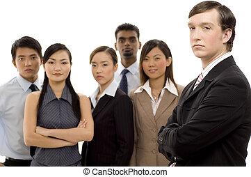 grupp, affär, ledare, 1