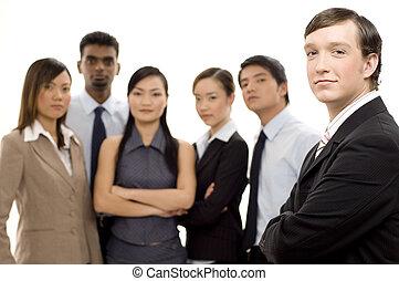 grupp, affär, ledare, 2