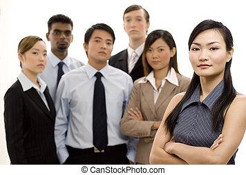 grupp, affär, ledare, 4