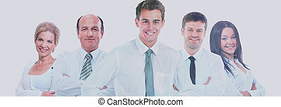 grupp, affärsfolk, isolerat, bakgrund., team., vit