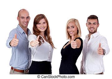 grupp, affärsfolk, tillsammans, lag, lycklig