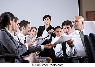 grupp, affärsverksamhet förevisning, utdelning, papper