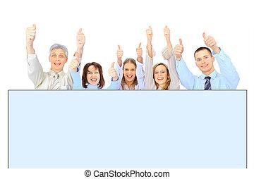 grupp, annons, affärsfolk, isolerat, holdingen, vit, baner