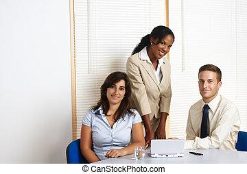 grupp, arbete, affär, folk