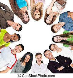 grupp, av, a, lycklig, folk