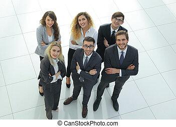grupp, av, affär, folk., över, vit fond